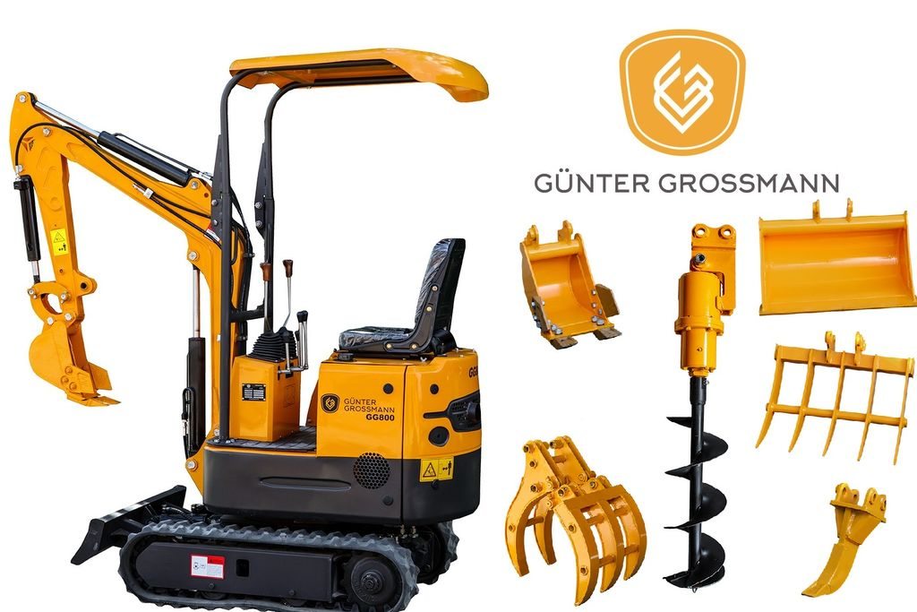 új Günter Grossmann  GG800 Minikoparka + Akcesoria - Mini koparka minikotró