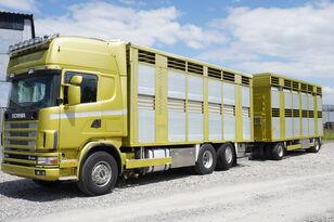 SCANIA R164 V8 , 6x2 , 2 hydraulic decks , 70m2 , live stock  állatszállító teherautó + állatszállító pótkocsi
