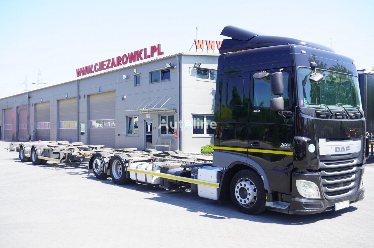 DAF XF 460 SC , E6 , 6X2 , BDF + Wecon 2 axles trailer , BDF SET  konténer teherautó + pótkocsi alváz