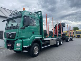 MAN TGS 33.500 rönkszállító teherautó + rönkszállító pótkocsi
